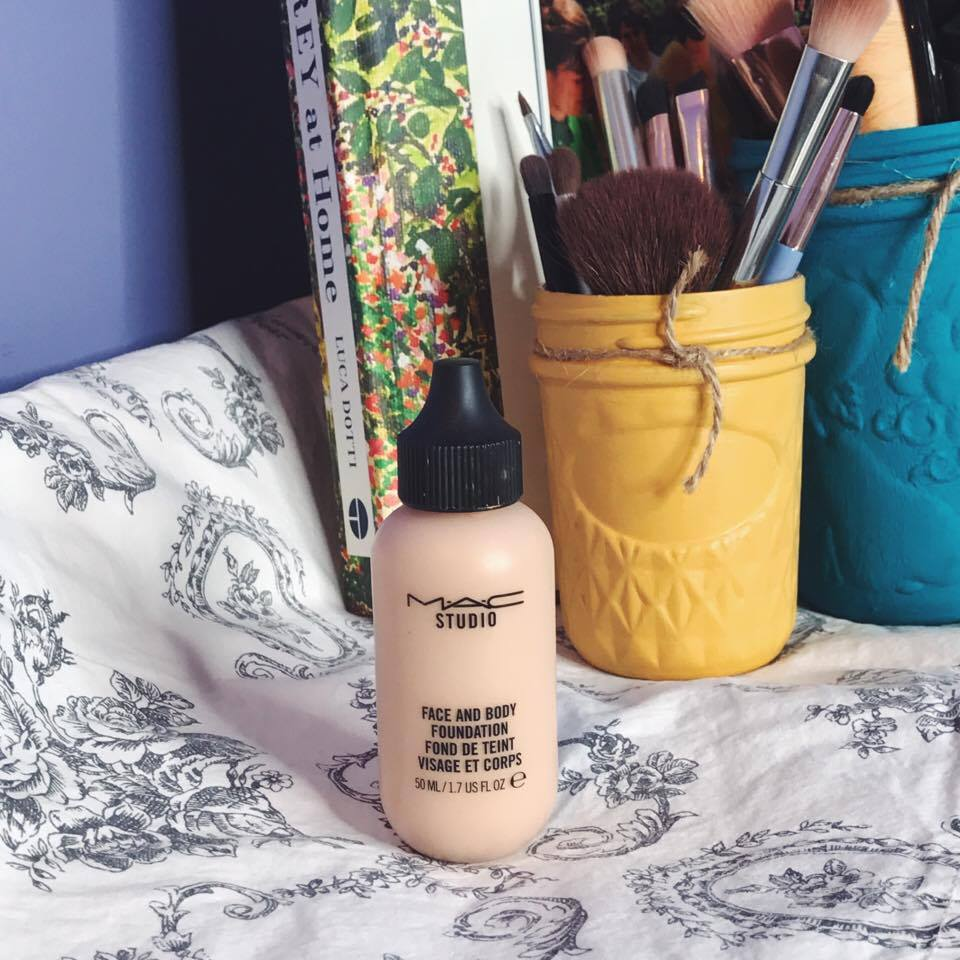 MAC Face and Body Foundation set against a background.