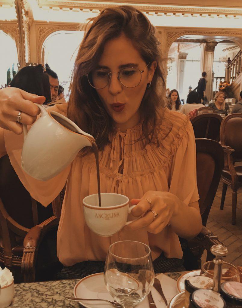 Pouring Angelina's Parisian hot chocolate