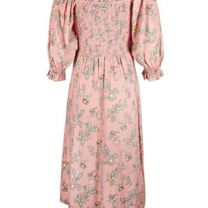oliver bonas floral pink midi dress